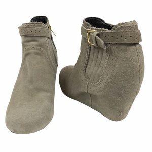 DV by Dolce Vita Suede Gray Wedge Heel Booties 8.5